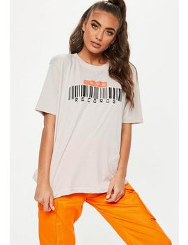 Grey Barcode Graphic T Shirt by Missguided