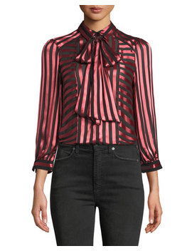 Willis Tie Neck Button Down Top by Alice + Olivia