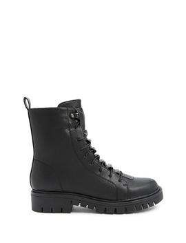 Pebbled Faux Leather Combat Boots by Forever 21