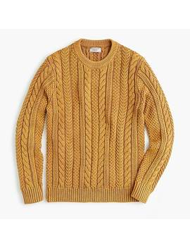 Wallace & Barnes Cable Knit Crewneck Sweater In Washed Cotton by J.Crew