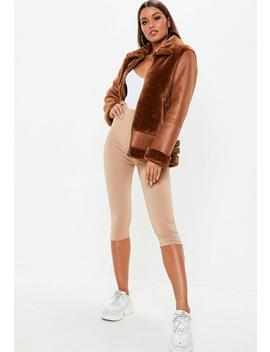 Brown Faux Fur Ultimate Aviator Jacket by Missguided