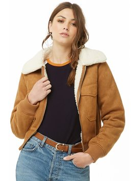 Faux Shearling Lined Faux Suede Jacket by Forever 21