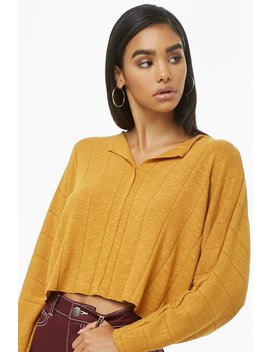 Split Neck Crop Top by Forever 21