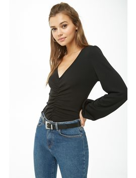 Ruched Peasant Sleeve Top by Forever 21