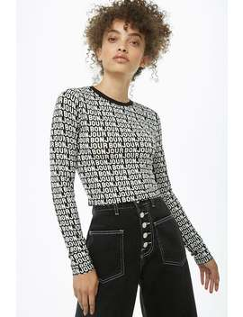 Bonjour Graphic Semi Cropped Top by Forever 21