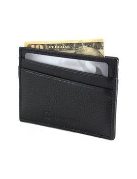 Alpine Swiss Minimalist Leather Front Pocket Wallet 5 Card Slots Slim Thin Case by Alpine Swiss