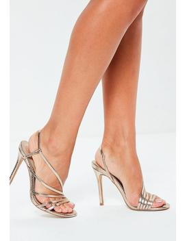 Gold Asymmetric Multi Strap Heel Sandals by Missguided