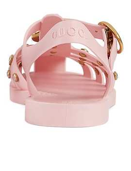 Crystal Embellished Rubber Sandals by Gucci