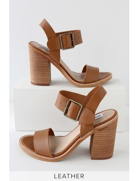 Castro Cognac Leather High Heel Sandals by Steve Madden