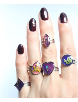 Vintage Mood Rings With Tiny Pressed Flowers Inside Tumblr Pastel Goth Aesthetic by Etsy