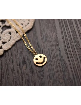 Smile Face Disc Necklace Gold Coin Necklace Everyday Necklace Bridesmaid Necklace Christmas Necklace by Etsy