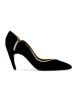 Choc Real Lurex Trimmed Velvet Pumps by Roger Vivier