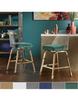 Lennox Velvet Counter Height Swivel Stools (Set Of 2) By I Nspire Q Bold by I Nspire Q