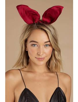 Jess Red Satin Bunny Ears Headband by Tobi