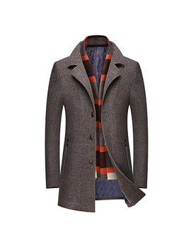 Mirecoo Men's Elegant Winter Warm Short Woolen Coat Business Jacket With Free Detachable Soft Touch Wool Scarf by Mirecoo