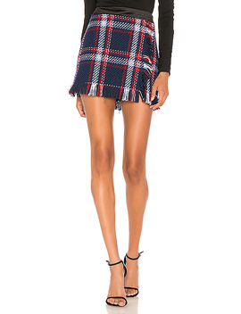Fringed Mini Skirt In Navy Plaid by J.O.A.