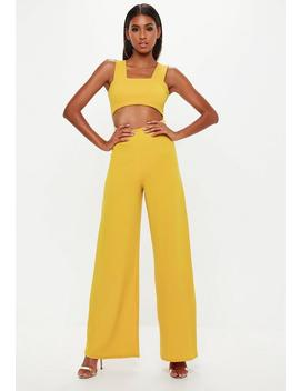 Mustard Cut Out Wide Leg Jumpsuit by Missguided