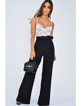 Black Tailored Wide Leg Belted Trousers   Chenelle by Rebellious Fashion