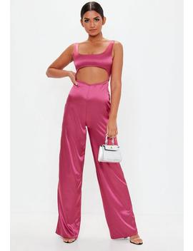 Pink Cut Out Satin Jumpsuit by Missguided