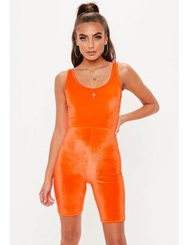 Neon Orange Velour Unitard by Missguided