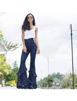 Women's High Waist Jeans Denim/Cascade Pull On Ruffle Flare/Jeans Tassel/Bell Bottoms/ Vintage 70s /Bohemian /Hippie Style. by Etsy