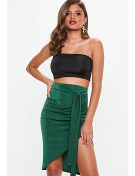 Green Slinky Asymmetric Midi Skirt by Missguided