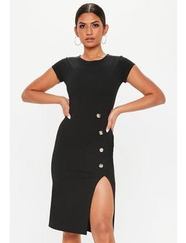 Black Thigh Split Horn Button Midi Dress by Missguided