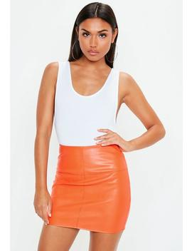 Orange Faux Leather Mini Skirt by Missguided