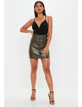 Khaki Paperbag Pu Mini Skirt by Missguided