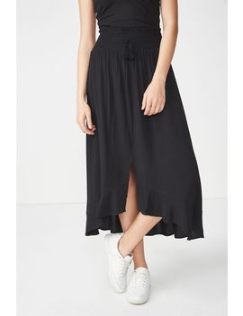Woven Hayley High Low Midi Skirt by Cotton On