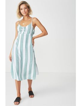 Strappy Gathered Bust Midi Dress by Cotton On