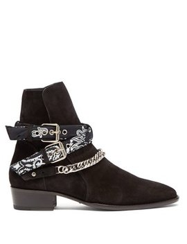 Bandana & Chain Ankle Strap Suede Ankle Boots by Amiri
