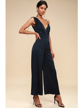 I've Got You Navy Blue Asymmetrical Jumpsuit by Keepsake