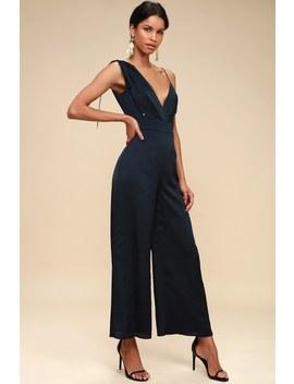 I've Got You Navy Blue Asymmetrical Jumpsuit by Keepsake