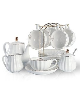 Porcelain Tea Sets British Royal Series, 8 Oz Cups& Saucer Service For 6, With Teapot Sugar Bowl Cream Pitcher Teaspoons And Tea Strainer For Tea/Coffee, Pukka Home (Pure White) by Pukka Home