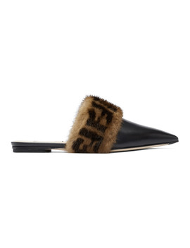 Black 'forever Fendi' Pointy Mink Slippers by Fendi