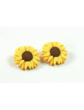 Sunflower Earrings, Sunflower Studs, Flower Earrings, Sunflower Jewelry, Yellow Flower Earrings by Etsy