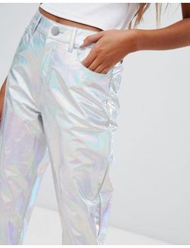 Asos Design Farleigh High Waist Slim Mom Jeans In Hologram Vinyl by Asos Design
