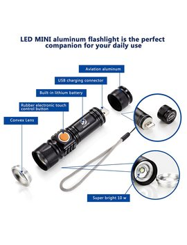 Usb Inside Battery T6 Powerful 2000 Lm Led Flashlight Portable Light Rechargeable Tactical Led Torches Zoom Flashlight by Shustar