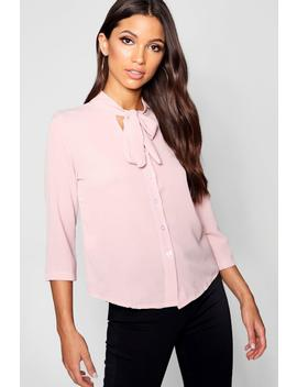 Tie Front Button Through Blouse by Boohoo