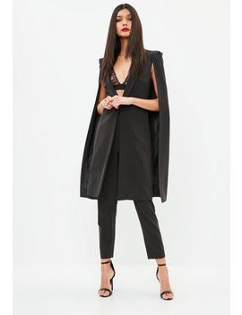 Black Pinstripe Longline Cape Blazer by Missguided