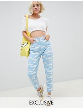 The Simpsons X Asos Design Mom Jeans In Cloud Print by Asos Design