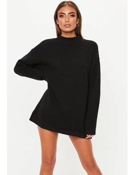 Black Ribbed Jumper Dress by Missguided