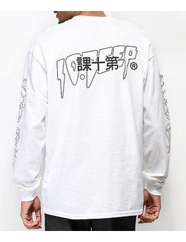 10 Deep Dragon Kanji White Long Sleeve T Shirt by 10 Deep Clothing