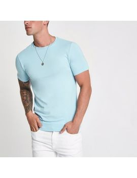 Light Blue Muscle Fit Short Sleeve T Shirt by River Island