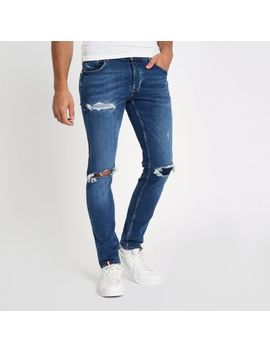 Blue Ripped Sid Skinny Jeans by River Island