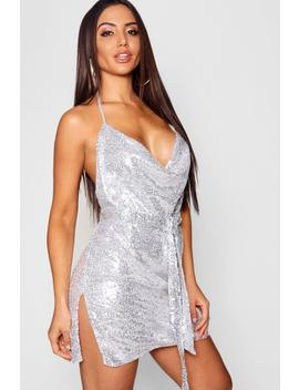 Sequin Cowl Neck Belted Mini Dress by Boohoo