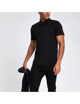 Black Slim Fit Polo Shirt by River Island