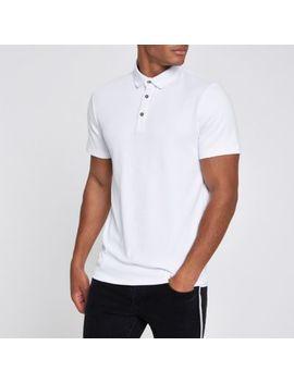 White Slim Fit Polo Shirt by River Island