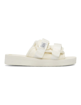 White Calf Hair Moto M Sandals by Suicoke